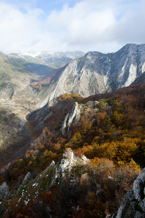 Mountains with beech forests in the north of Spain. Banco de Imagens - 120659144