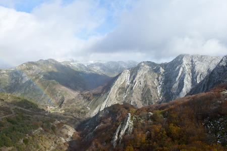 Mountains with beech forests in the north of Spain. Banco de Imagens - 120659091