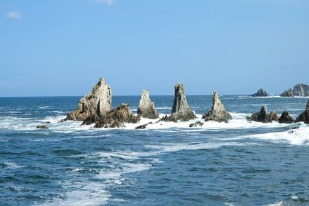 View of the geological formations of the wild beach of La Gueir?a.