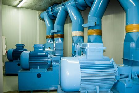 Pumping motors of a pneumatic urban solid waste collection station.