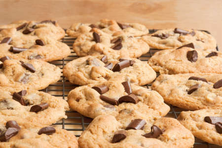 chocolate chip cookie: chocolate chip cookies on a cooling rack. Selective focus on bottom half of image.