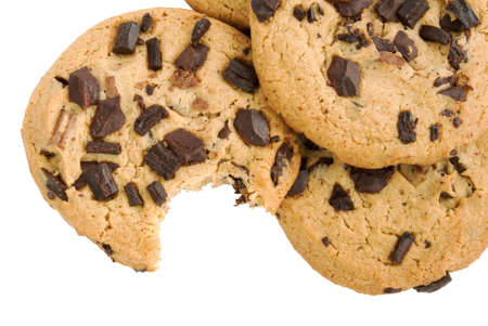 chocolate chip cookie: chocolate chip cookie with a missing bite. Isolated white background. Stock Photo