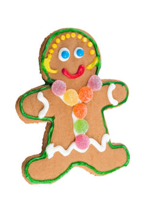 gingerbread girl on isolated white background with gum drops and sprinkles. Stock Photo - 17700905