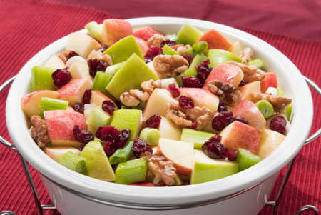 waldorf salad made with cranberries, gala apples, granny smith apples, walnuts, spring onion in a walnut oil based sauce.
