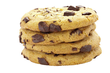 Chocolate chip cookies in a stack on an isolated white background. Stock Photo - 17805420