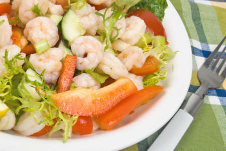 salad made with shrimp, tomatoes, bell peppers, spring onions, lettuce, and cucumbers.