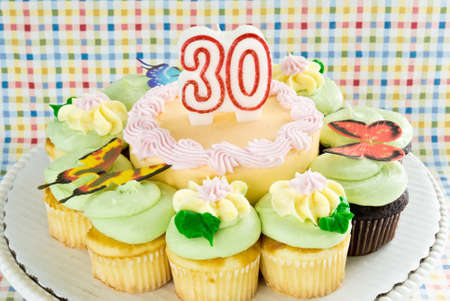 birthday cake with unlit 30 year candle. cake is surrounded by chocolate and yellow cupcakes. Ornate decorations include butterflies and flowers made from butter cream icing.  photo