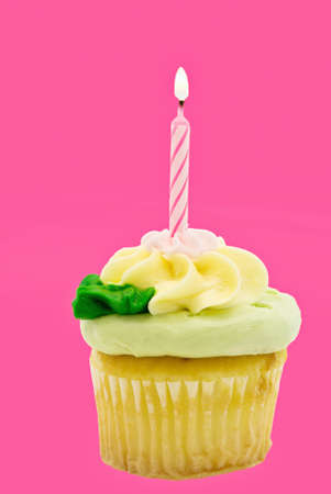 Birthday cupcake Isolated with one burning candle.  photo
