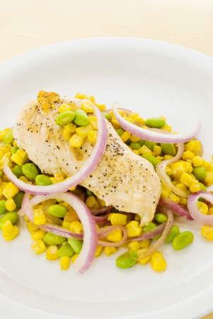 grilled chicken served with corn, edamame and spanish onions in an olive oil vinaigrette.
