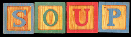 Word soup spelled out using old wood blocks. High resolution.  photo