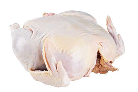 giblets: raw roasting chicken with giblets on an isolated white background. Stock Photo