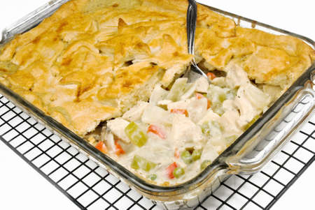 chicken pot pie. Made with celery, chicken, sweet red peppers, mushrooms, sweet peas and a savory sauce.