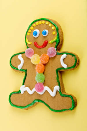 gingerbread girl with gumdrops and sprinkles and a smiling face. Stock Photo