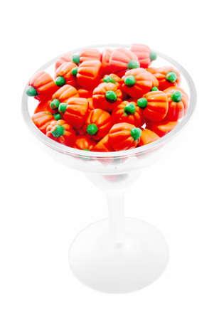 candy corn: candy corn served in a margarita glass.
