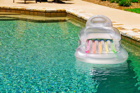 inflatable float in a gunite swimming pool