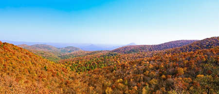 panorama of the great smoky mountains in Appalachia during autumn in northern Georgia.  Stock Photo