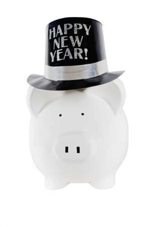 piggy bank wearing a happy new year party hat on an isolated white background  Stock Photo