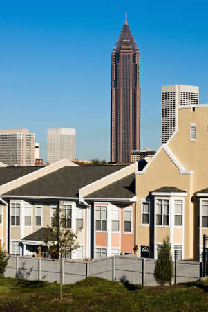 residential housing: atlanta georgia skyline with a residential housing district close by   Stock Photo