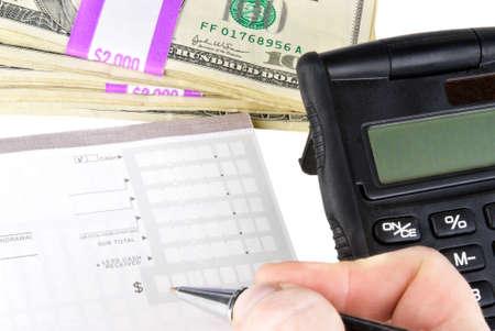 deposit slip: paper currency money and bank deposit slip.