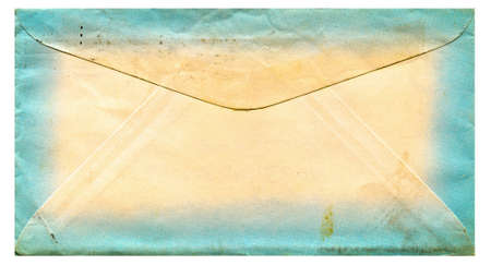 old envelope: old paper envelope with a blue border. High Resolution scan. Stock Photo