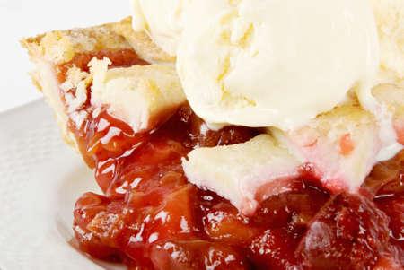 cherry pie a la mode with vanilla bean ice cream on top.