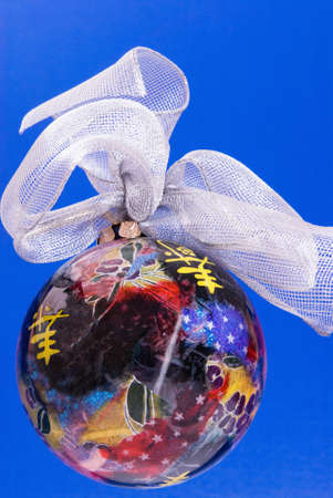 Christmas ornament. Handmade decoupage.   Stock Photo