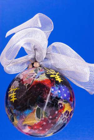 decoupage: Christmas ornament. Handmade decoupage.   Stock Photo