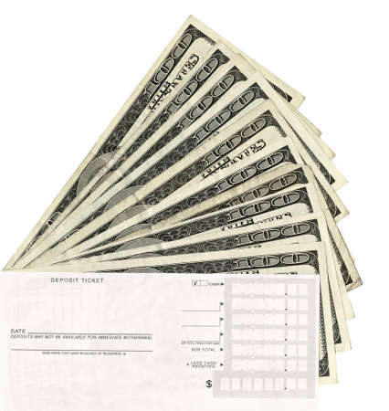 deposit slip: Paper Currency with a deposit slip. high resolution with ten one hundred dollar bills on isolated white.