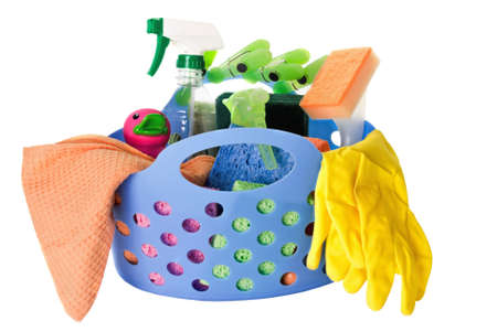 cleaning supplies: cleaning supplies isolated on a white background.