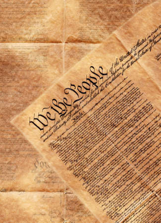 preamble: preamble of the constitution of the United States of America laying on top of the backside of this historical document   Stock Photo