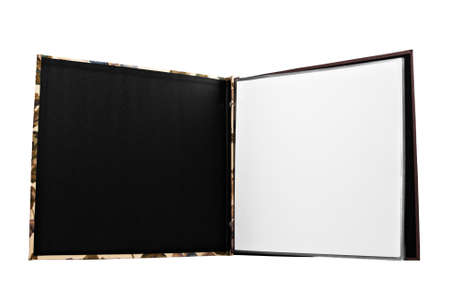 photo album: Open scrapbook on an isolated white background