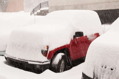 blizzard covers vehicles with snow