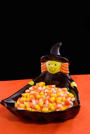 Halloween Witch and Candy Corn Stock Photo