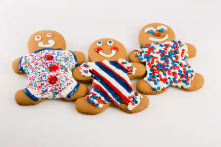 Gingerbread people decorated in a patriotic theme. Stock Photo