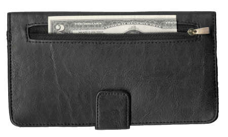 show bill: exploración de alta resolución de un billete de dos dólares en un bolsillo de una billetera de cuero negro. Esta imagen está aislado en un fondo blanco. Una mirada más cercana mostrará todos los detalles en el material y el papel moneda estadounidense. Foto de archivo