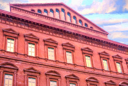 historically: Close-up of the front of the famous National Building Museum located in Washington DC in America. It is historically known as the Pension Building. It is a museum of architecture, design, engineering, construction and urban planning. Computer generated ar