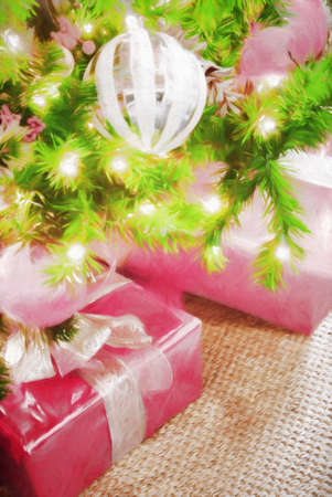 christmas tree presents: Wrapped Christmas presents under a holiday tree. The gifts are wrapped in pink colored paper with gold ribbons. This is computer generated art from a photograph. Stock Photo