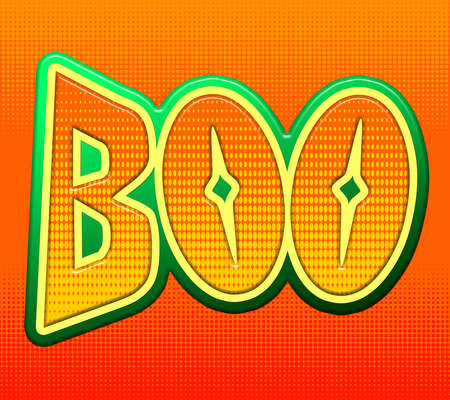 boo: The word Boo in Halloween colors of orange, yellow and green. This is computer generated art and not a photograph.