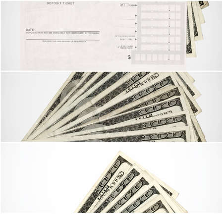 deposit slip: US Paper Currency with a deposit slip. high resolution scan collection.
