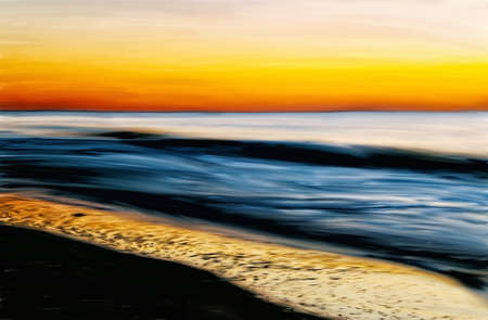 atlantic: Digitally hand painted photograph of a sunrise over the Atlantic Ocean. Stock Photo