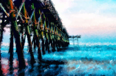 pier: Digitally hand painted photograph of the second avenue pier in Myrtle Beach South Carolina at sunset.