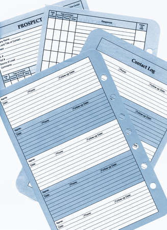 High resolution scan of blank prospect sheets and contact logs and follow up response sheets.
