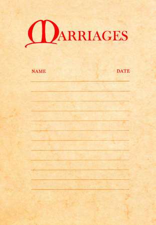 high resolution scan of a page from an old 1970 Bible. This is the marriages page and it is blank with lines for adding names and dates. Stock Photo