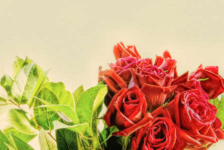 A bouquet of red roses with its green leaves attached forms a border and has a textured effect overlay. This is computer generated art from a photograph. Stock Photo
