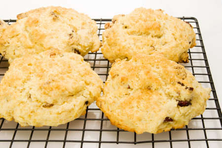 Homemade fruit scones hot out of the oven on a kitchen cooling rack. Stock Photo