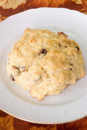 Homemade fruit scone served on an antique white plate with an autumn season themed tablecloth in the background.