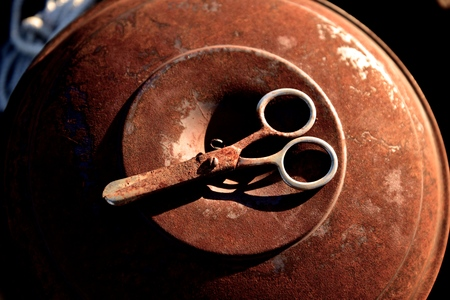 Rusted safety scissors evoke memories of childhood 写真素材