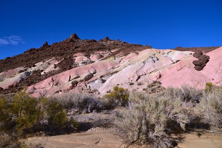 Pink volcanic tuft and desert rock