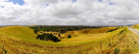 panorama of California wine country and fields