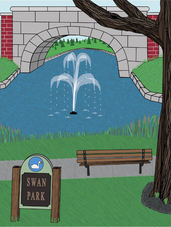 serene park with fountain, sign, bench, bridge and tree